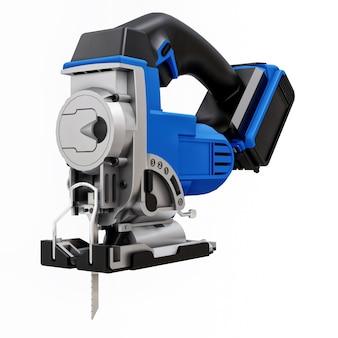 Das werkzeug ist eine blaue elektrische stichsäge auf einem weißen isolierten
