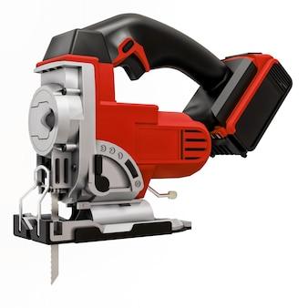 Das werkzeug ist eine rote elektrische stichsäge auf einem weißen, isolierten hintergrund. 3d-rendering.