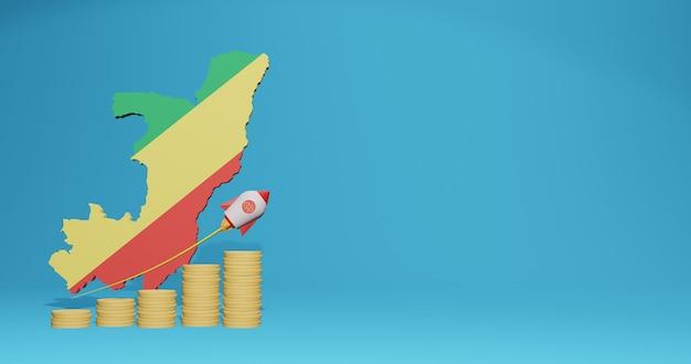 Das wirtschaftswachstum in der republik kongo für die bedürfnisse von social-media-tv und website-hintergrundabdeckung kann verwendet werden, um daten oder infografiken in 3d-rendering anzuzeigen