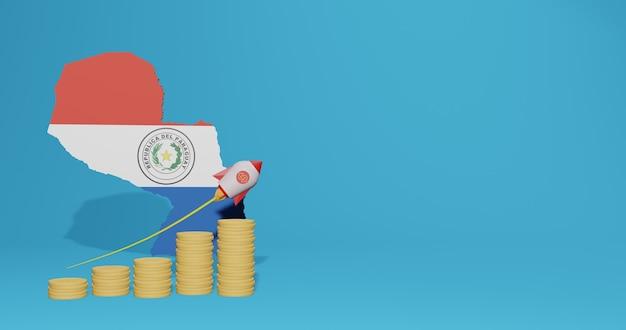 Das wirtschaftswachstum in paraguay für die bedürfnisse von social-media-tv und website-hintergrundabdeckung kann verwendet werden, um daten oder infografiken in 3d-rendering anzuzeigen