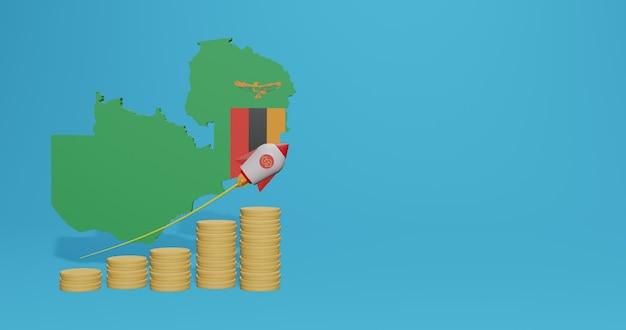 Das wirtschaftswachstum in sambia für die bedürfnisse von social-media-tv und website-hintergrundabdeckung kann verwendet werden, um daten oder infografiken in 3d-rendering anzuzeigen