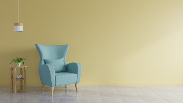 Das wohnzimmer hat ein blaues sofa, das mit lampen und bäumen mit gelben wänden im hintergrund dekoriert ist.