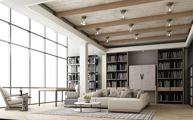 Das wohnzimmer ist in einem modernen stil mit holztönen eingerichtet und verfügt über eine sofagarnitur und ein bücherregal sowie große fenster und hohe decken auf parkettböden. 3d-rendering