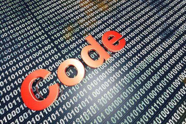 Das wort code vor einer binärdatei.