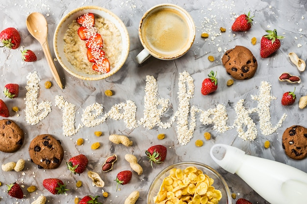 Das wort frühstück ist aus haferflocken geschrieben
