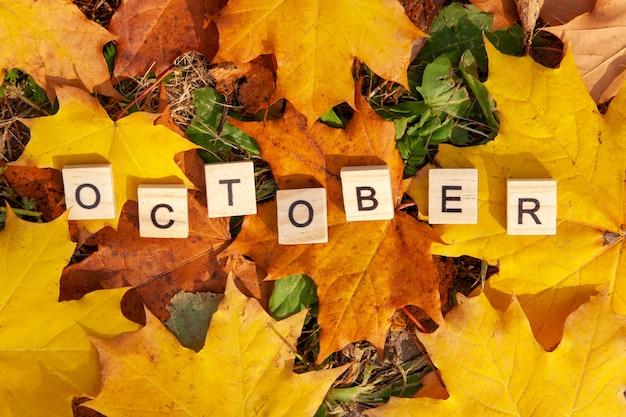 Das wort oktober ist in holzbuchstaben auf einem hintergrund von abgefallenen blättern geschrieben. herbstkonzept und kalenderkonzept. speicherplatz kopieren
