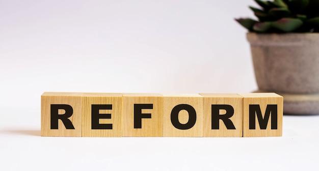 Das wort reform auf holzwürfeln auf einer hellen oberfläche nahe einer blume in einem topf