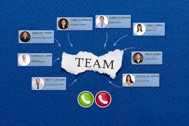 Das wort team in einem stück papier, umgeben von kontakten in einer videokonferenz