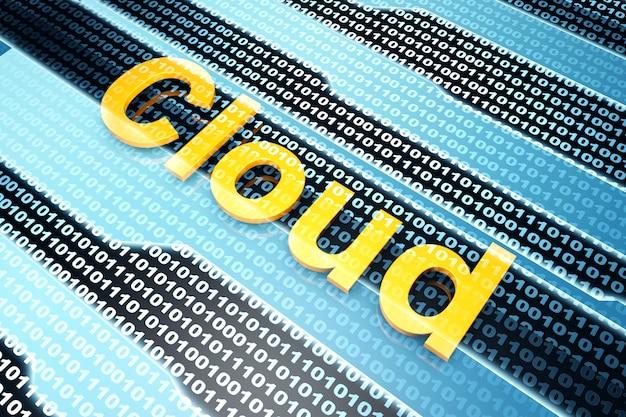 Das wort wolke vor einem binären hintergrund