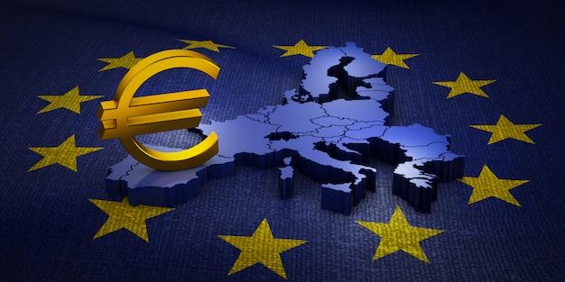 Das zeichen der euro-währung auf der volumetrischen karte der europäischen union. 3d-rendering.