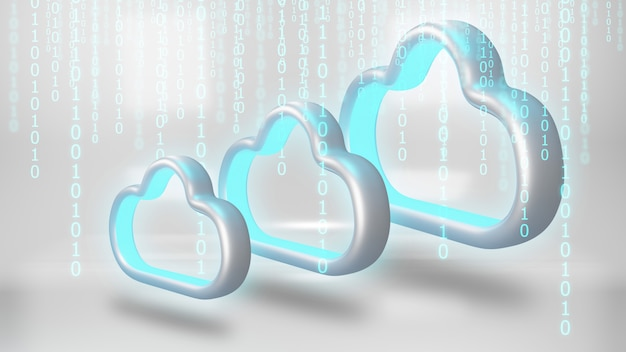 Daten in den cloud-speicher. cloud-computing-technologiekonzept.