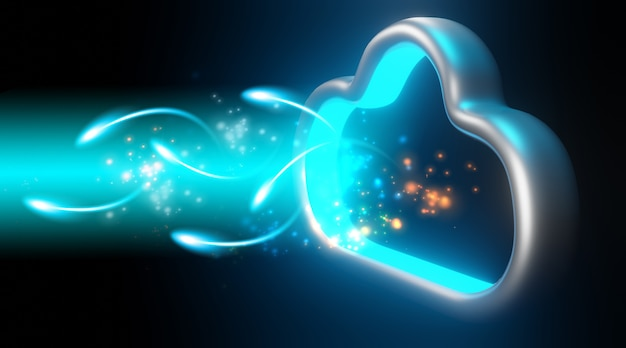 Daten in den cloud-speicher. cloud-computing-technologiekonzept