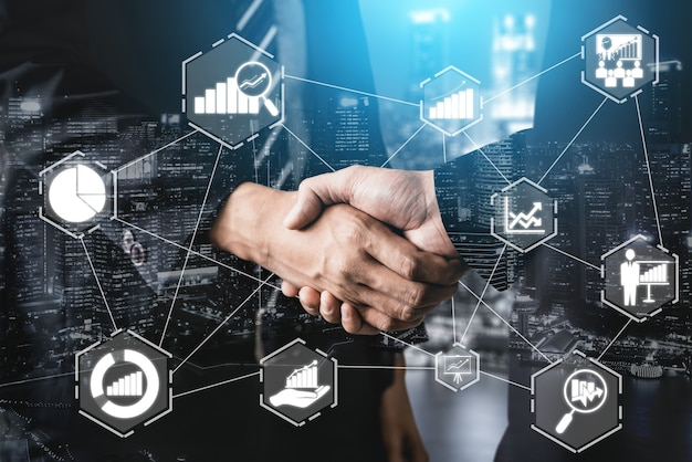 Datenanalyse für das geschäfts- und finanzkonzept. computertechnologie gewinnanalyse, online-markt.