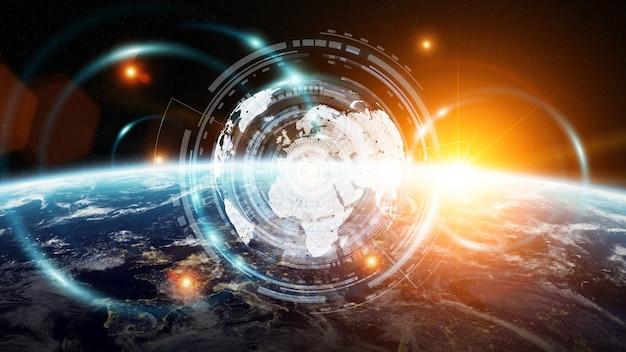 Datenaustausch und globales netzwerk auf der ganzen welt