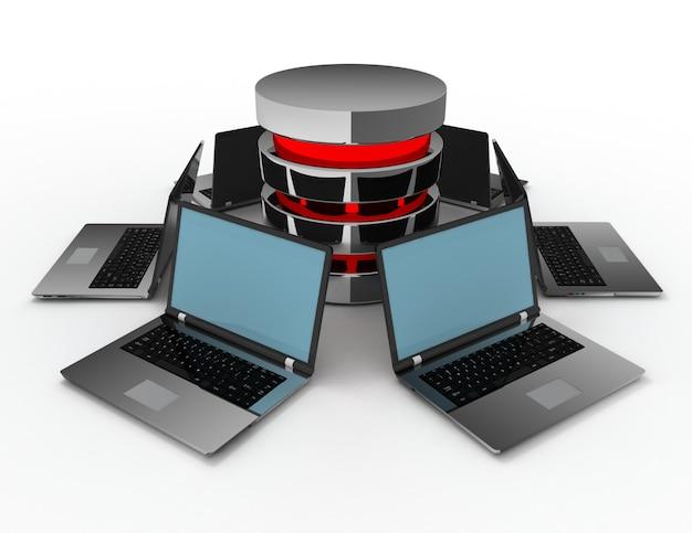 Datenbankkonzept mit laptops. 3d gerenderte darstellung
