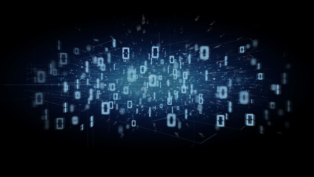 Datenbinärwolke auf einer wiedergabe des hintergrundes 3d