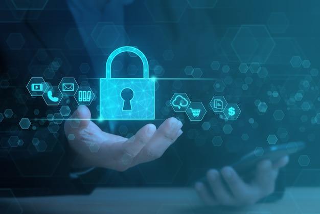 Datenschutz- und cybersecurity-netzwerkkonzept