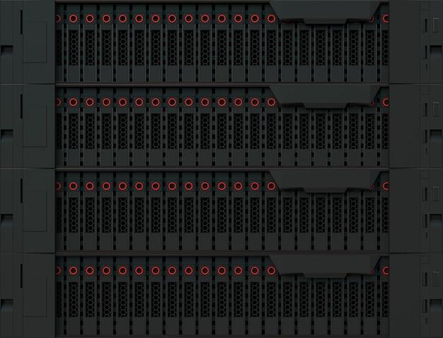 Datenserverausrüstung 3d-high-tech-datenbank-computerspeicher und cloud-computing-dienst