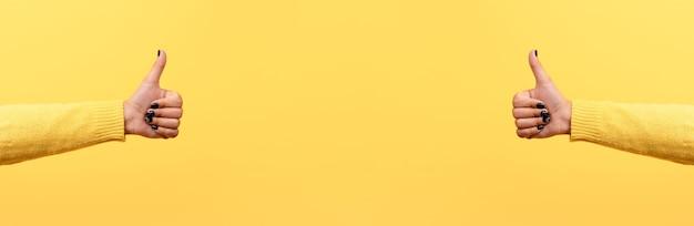 Daumen hoch oder wie zeichen über trend gelb