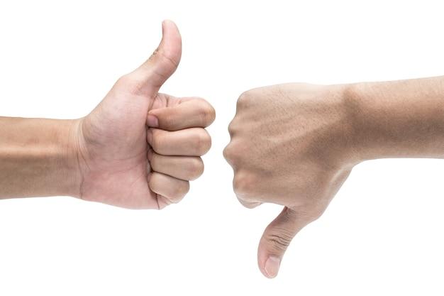 Daumen hoch und daumen runter handzeichen