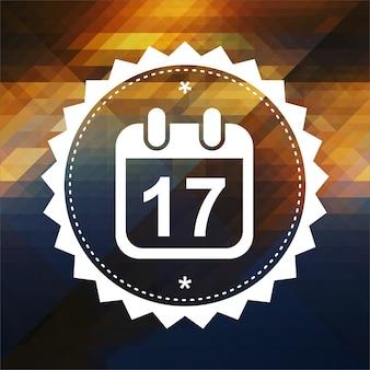 Deadline concept - kalender mit datumssymbol. retro-etikettendesign. hipster hintergrund aus dreiecken, farbfluss-effekt.