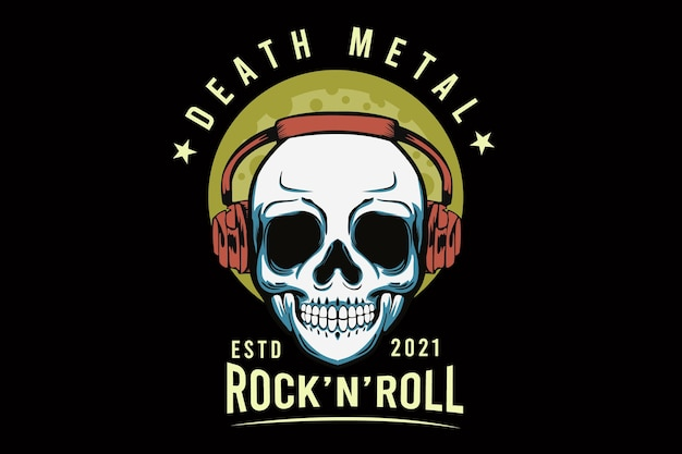 Death metal mit totenkopf-illustrationsdesign