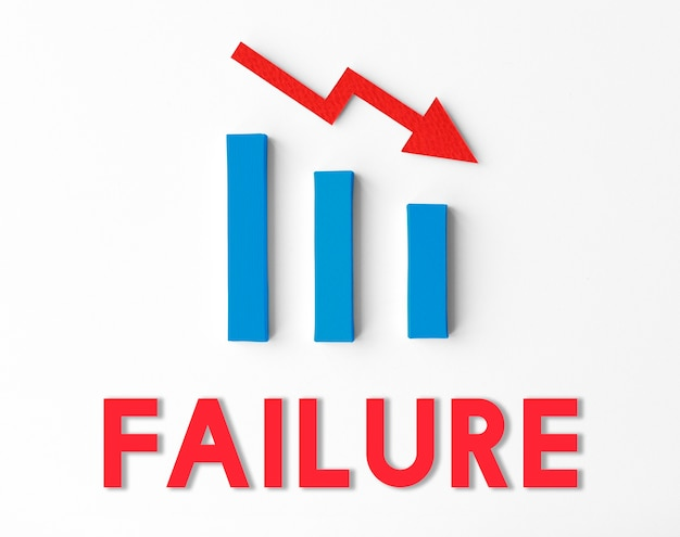 Debt ridk difficulty downfall-konzept