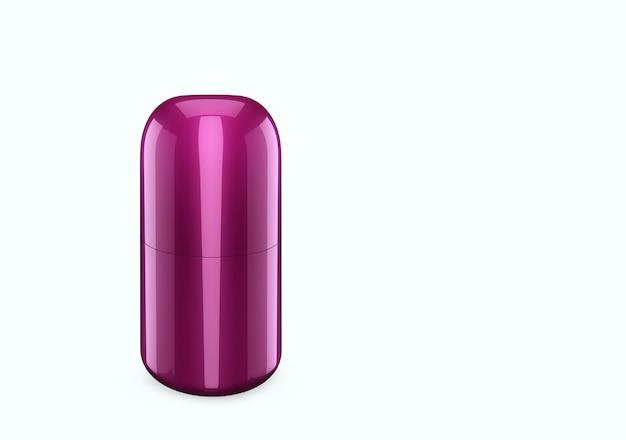 Deep lilac perlmutt duschgel flaschenmodell vom hintergrund isoliert: duschgel metallverpackungsdesign. leere hygiene-, medizin-, körper- oder gesichtspflegevorlage. 3d-darstellung