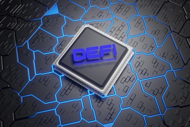 Defi - dezentrale finanzen auf dunkelblauem cpu-hintergrund. mit dem leiterplattenkonzept blockchain, dezentrales finanzsystem.