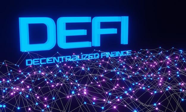 Defi - dezentrale finanzen auf dunkelblauem und rosa abstraktem polygonalem hintergrund. anwendungen und dienste, die auf öffentlichen blockchains basieren. 3d-rendering