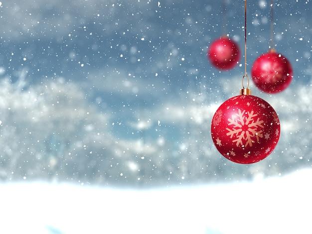 Defocussed weihnachten winterlandschaft mit hängenden kugeln