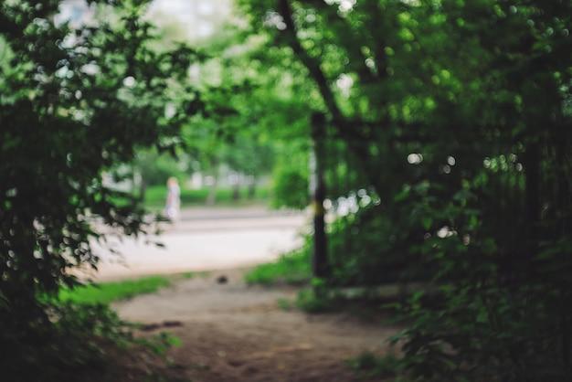 Defokussierte ansicht auf städtischer straße vom wald zwischen bäumen. verlassen sie den dunklen wald auf der straße. bokeh hintergrund mit natur und stadt in der nähe.