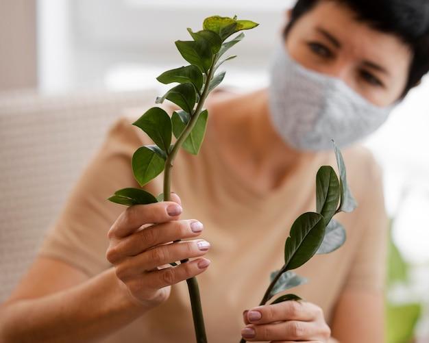 Defokussierte frau mit gesichtsmaske, die sich um zimmerpflanze kümmert