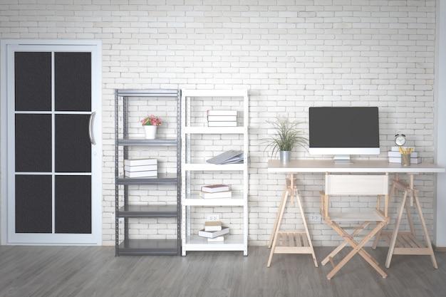 Dekoration im modernen minimalen weißen büro mit computer auf schreibtisch