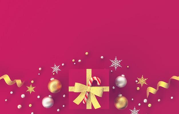 Dekorationszusammensetzung des weihnachten 3d mit geschenken, weihnachtsball, schneeflocke auf rotem hintergrund. weihnachten, winter, neujahr. flache lage, draufsicht, copyspace.