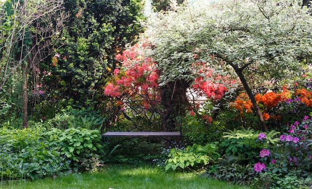 Dekorative bäume sträucher und blumen im garten