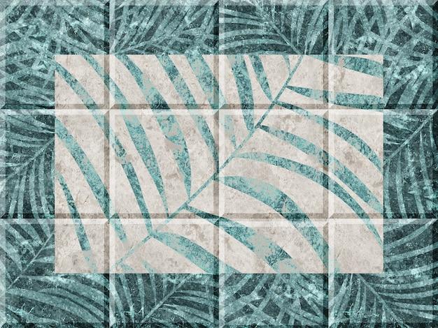 Dekorative keramikfliesen mit tropischem blattmuster. hintergrundbeschaffenheit