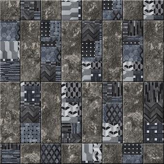 Dekorative keramikwandfliesen mit abstraktem muster und natursteinstruktur. element für die innenausstattung. hintergrundsteinbeschaffenheit. mosaik