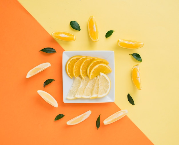 Dekorative scheiben der zitrone und der orange auf doppelhintergrund