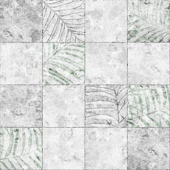 Dekorative steinfliesen mit tropischem blattmuster und natürlicher marmorstruktur. element für design. hintergrundbeschaffenheit