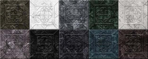 Dekorative steinwandfliesen mit reliefmuster. element für die innenausstattung. farbiges marmormosaik
