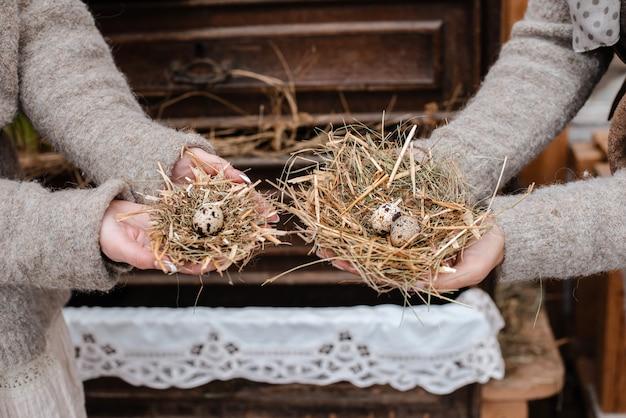 Dekorative strohnester mit wachteleiernahaufnahme in den weiblichen händen auf rustikalem hintergrund der weinlese.