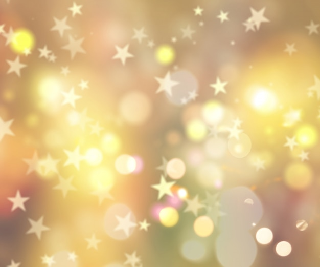 Dekorative weihnachten hintergrund der sterne und bokeh lichter