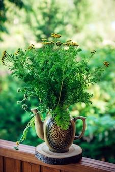 Dekorative zusammensetzung von wiesenblumen in keramikvase auf der terrasse des landhauses, nahaufnahme. strauß wildblumen auf grünem laub, selektiver fokus. hauptdekorationskonzept.
