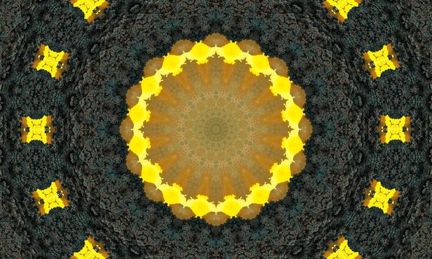 Dekorativer dekorativer kaleidoskop-bewegungs-geometrischer kreis, abstraktes blumenkaleidoskop, geometrisches ethnisches nahtloses muster, komplizierter volkshintergrund.