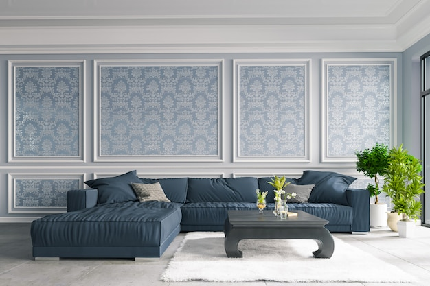 Dekorativer hintergrund für haus, büro und hotel. modernes innendesign der wohnzimmer- und wandbeschaffenheit