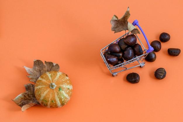 Dekorativer kürbis und kastanien im einkaufsminikorb auf orange. flach liegen