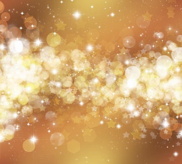Dekorativer weihnachtshintergrund von sternen und bokhe lichtern