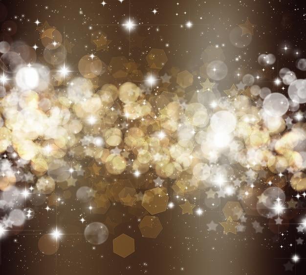 Dekorativer weihnachtshintergrund von sternen und bokhe-lichtern