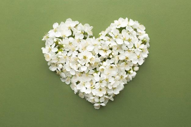 Dekoratives herz aus weißen blumen.